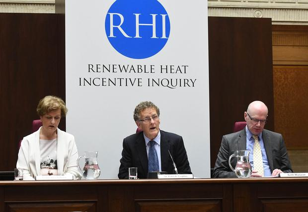 Who's who at the RHI Inquiry: Chairman Sir Patrick Coghlin (centre) is charged with unravelling how the botched green energy scheme exposed the public to such a huge potential overspend. He is pictured with Dame Una O'Brien who was Permanent Secretary at the Department of Health (DH) in London from 2010 to 2016, and Keith MacLean who worked in the energy industry for 20 years and advised government on policy. He was Policy and Research Director at SSE.