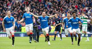 Rangers celebrate winning the penalty shoot out  during the William Hill Scottish Cup semi-final match at Hampden Park, Glasgow. PRESS ASSOCIATION Photo. Picture date: Sunday April 17, 2016. See PA story SOCCER Rangers. Photo credit should read: Jeff Holmes/PA Wire. EDITORIAL USE ONLY