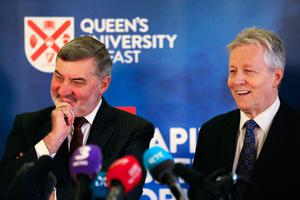 Lord John Alderdice (left) and Peter Robinson during an event to mark the 20th anniversary of the Good Friday Agreement, at Queen's University in Belfast. PRESS ASSOCIATION Photo. Picture date: Tuesday April 10, 2018. See PA story ULSTER GoodFriday. Photo credit should read: Brian Lawless/PA Wire