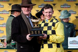 Golden wonder: Willie Mullins and jockey Paul Townend are delighted after securing back-to-back Gold Cup triumphs with Al Boum Photo