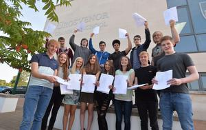 PACEMAKER BELFAST  13/08/2014 Some of the AS level students celebrating their results at Grosvenor Grammar school this morning. PHOTO ARTHUR ALLISON/PACEMAKER PRESS