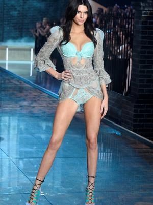 NEW YORK, NY - NOVEMBER 10:  Model Kendall Jenner from California walks the runway during the 2015 Victoria's Secret Fashion Show at Lexington Avenue Armory on November 10, 2015 in New York City.  (Photo by Jamie McCarthy/Getty Images)