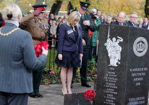 Brenda Hale at the unveiling of the new World War One European Memorial at Woodvale Park in west Belfast