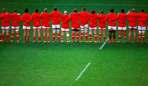 Canada line up to sing their national anthem during the World Cup match at Leicester City Stadium, Leicester. PRESS ASSOCIATION Photo. Picture date: Tuesday October 6, 2015. See PA story RUGBYU Canada. Photo credit should read: David Davies/PA Wire. RESTRICTIONS: Editorial use only. Strictly no commercial use or association without RWCL permission. Still image use only. Use implies acceptance of Section 6 of RWC 2015 T&Cs at: http://bit.ly/1MPElTL Call +44 (0)1158 447447 for further info.