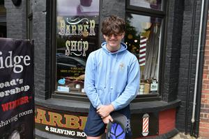 Joe Carberry pictured before his haircut at Cambridge Barbers on the Lisburn Road. Photo by Stephen Hamilton
