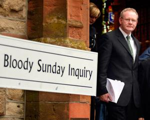 File photo dated 04/11/03 of Sinn Fein's Martin McGuinness outside the Guildhall in Derry after giving evidence to the Saville Inquiry, into the Bloody Sunday tribunal. PA