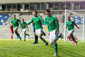 Northern Ireland's Kyle Lafferty (second right) celebrates scoring his side's first goal of the game during the UEFA European Championship Qualifying match at Windsor Park, Belfast. Photo: Liam McBurney/PA Wire