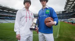 Old foes: Tyrone's Sean Cavanagh and Gearoid McKiernan of Cavan at the launch of the National League finals at Croke Park