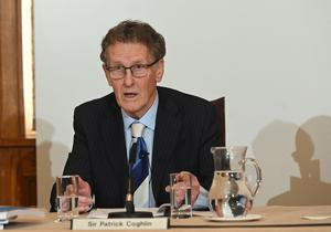 Inquiry chairman Sir Patrick Coghlin presents the findings  at the launch event to publish the Renewable Heat Incentive (RHI) Inquiry Report in the Long Gallery, Parliament Buildings. Pacemaker Press 13/03/2020