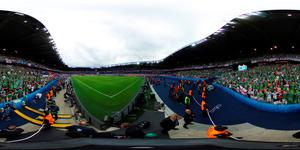 PARIS, FRANCE - JUNE 21: (EDITOR'S NOTE: Image was created as an Equirectangular Panorama. Import image into a panoramic player to create an interactive 360 degree view)  Northern Ireland fans are seen during the UEFA EURO 2016 Group C match between Northern Ireland and Germany at Parc des Princes on June 21, 2016 in Paris, France.  (Photo by Clive Mason/Getty Images)