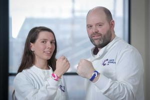 Drs Matt Humphries and Dr Stephanie Craig supporting Cancer Research UK's campaign for World Cancer Day.