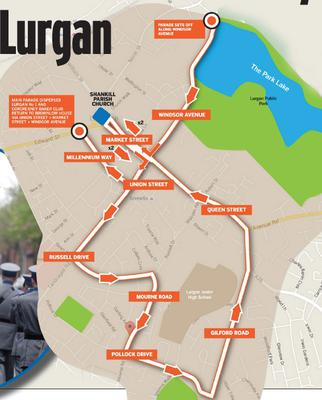 Route of loyalist parade through Lurgan on Easter Monday