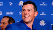 Thirsty work: Rory McIlroy celebrates Ryder Cup success