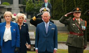 Minister for Arts, Heritage and the Gaeltacht Heather Humphreys, Camilla and the Prince at a wreath laying service at Glasnevin Cemetery