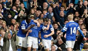 Everton's Kevin Mirallas celebrates scoring his teams second goal against Manchester United during the Barclays Premier League match at Goodison Park, Liverpool.