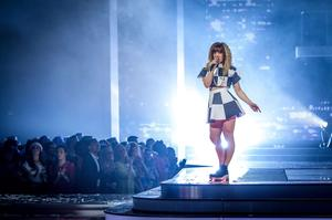 Leah McFall during her performance during episode 12 of the BBC reality show The Voice.