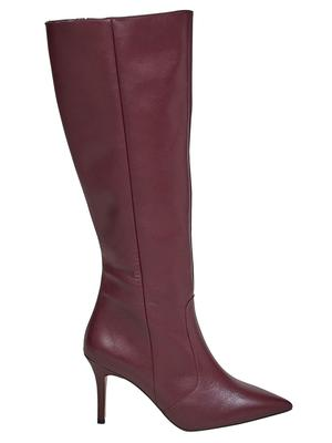 Undated Handout Photo of Office Keep Up Burgundy Leather Stiletto Knee Boots, £50 (were £129), available from Office. See PA Feature TOPICAL Fashion Boots. Picture credit should read: PA Photo/Handout. WARNING: This picture must only be used to accompany PA Feature TOPICAL Fashion Boots. WARNING: This picture must only be used with the full product information as stated above.