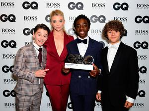 Noah Schnapp (left), Caleb McLaughlin (centre) and Gaten Matarazzo with the Editor's Special award presented to Stranger Things pose with Natalie Dormer during the GQ Men of the Year Awards 2017 held at the Tate Modern, London. PRESS ASSOCIATION Photo. Picture date: Tueday September 5th, 2017. Photo credit should read: Ian West/PA Wire