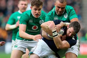 EDINBURGH, SCOTLAND - FEBRUARY 04: Tommy Seymour of Scotland  vies with Simon Zebo of Ireland during the RBS 6 Nations match between Scotland and Ireland at Murrayfield Stadium on February 4, 2017 in Edinburgh, Scotland. (Photo by Ian MacNicol/Getty Images)