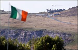 A Irish flag flies close to the almost completed film set of an ancient Jedi Temple under construction at Ceann Sibeal in Kerry for the making of Star Wars Episode VIII.