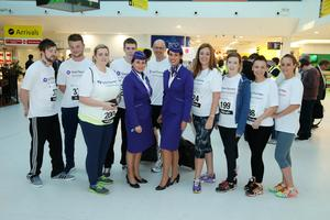 Press Eye - Belfast -  Northern Ireland - 24th June 2015 -  Breige Young and Carlene McMahon from Flybe with athletes at the first ever Grant Thornton Runway Run at Belfast City Airport this evening. Picture by Kelvin Boyes / Press Eye.
