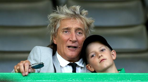 Sir Rod Stewart with son Aiden (PA)