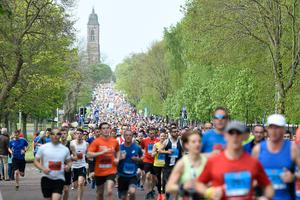 Competitors run down the Holywood Road in East Belfast during the Belfast Marathon. Picture: Michael Cooper