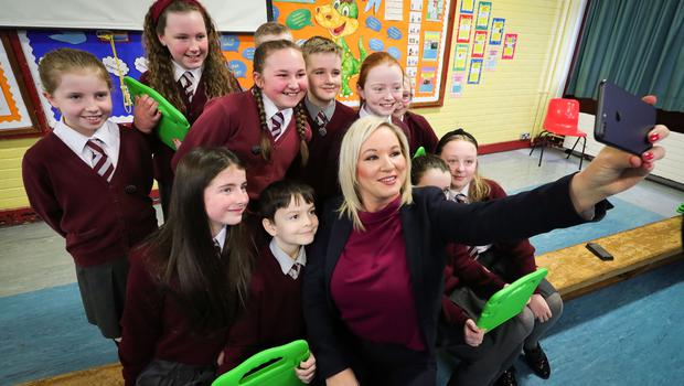 Press Eye - Belfast - Northern Ireland - 11th February 2020 -   The deputy First Minister Michelle O'Neill joined pupils at Holy Trinity Primary School in Belfast for Safer Internet Day.   She spoke to the young people about the need to be aware of and avoid potential dangers of the internet and encouraged them to be kind and respectful to each other online.   The deputy First Minister congratulated the school on their recent awards in online safety education and said they were leading the way in this important area.  Photo by Kelvin Boyes / Press Eye.