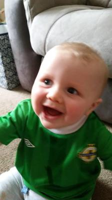 Rory Beattie (8 months) getting ready to watch the match. Photo: Linda Taylor