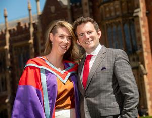 Academic Clinical Lecturer in Obstetrics and Gynaecology at Queen's Dr Kelly-Ann Eastwood and her husband Rev. Dr Ian Eastwood celebrate today on Saturday 30 June as Kelly-Ann receives her PhD from the Centre for Public Health within the School of Medicine, Dentistry and Biomedical Sciences at Queen's University. Rev. Dr Ian Eastwood will be playing the organ at today's ceremony as he does every year for Queen's graduations but today will be extra special!