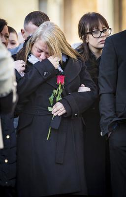 Vera, Toni and Ryan Ogle as The funeral of Ian Ogle takes place in east Belfast on February 4th 2019 (Photo by Kevin Scott for Belfast Telegraph)