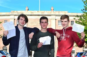 Pupils (L-R) Donal Shearer,Aneurin Duffy-Murray and Ben Connolly from Royal Belfast Academical Institution in Belfast pictured after receiving 11A Stars in their GCSE exam results. Picture By: Arthur Allison/Pacemaker Press