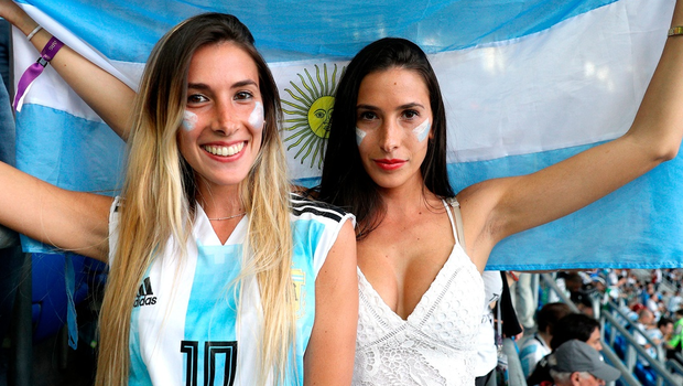 Argentina fans in the stands before the FIFA World Cup Group D match at Saint Petersburg Stadium.