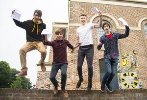 A-Level results day 2016 - Omar Helmy , Cameron Hilditch, Jack Irvine  and Dylan Braithwaite of RBAI on the 18th August 2016, Belfast , Northern Ireland ( Photo by Kevin Scott / Belfast Telegraph )
