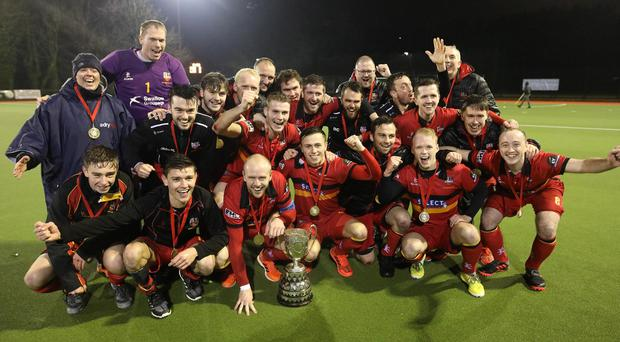 Banbridge celebrate after winning 3-2 against Lisnagarvey in the Kirk Cup Final at Stormont. Photo by Peter Morrison
