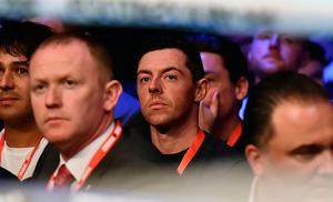 Rory McIlroy watches on during the Frampton v Donaire card at the SSE Arena