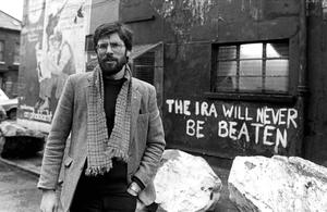 PACEMAKER BELFAST   Sinn Fein president Gerry Adams pictured outside the party's HQ on the Falls Road in January 1984