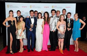 The cast of Made in Chelsea with the Reality and Constructed Factual Award for Made in Chelsea, at the 2013 Arqiva British Academy Television Awards at the Royal Festival Hall, London. PRESS ASSOCIATION Photo. Picture date: Sunday May 12, 2013. See PA story SHOWBIZ Bafta. Photo credit should read: Ian West/PA Wire