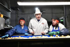 Prime Minister Boris Johnson during a visit to Tayto Castle in County Armagh Northern Ireland on Thursday afternoon.Pic Colm Lenaghan/Pacemaker