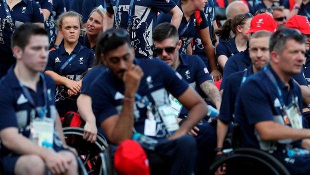 Paralympic GB athletes including Ellie Simmonds (second left) during the Paralympics GB Welcome Ceremony at the Athletes Village ahead of the 2016 Rio Paralympic Games, Brazil. PRESS ASSOCIATION Photo. Picture date: Sunday September 4, 2016. Photo credit should read: Andrew Matthews/PA Wire. EDITORIAL USE ONLY