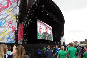 GAWA fans enjoying the warm up to the kick off at the Fan Zone Titanic, Belfast. Picture by Freddie Parkinson/Press Eye ©