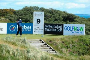 NEWCASTLE, NORTHERN IRELAND - MAY 29:  Richie Ramsay of Scotland tees off on the 9th hole during the Second Round of the Dubai Duty Free Irish Open Hosted by the Rory Foundation at Royal County Down Golf Club on May 29, 2015 in Newcastle, Northern Ireland.  (Photo by Andrew Redington/Getty Images)