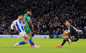 Brighton and Hove Albion's Florin Andone (left) is denied by Watford goalkeeper Ben Foster (Gareth Fuller/PA)