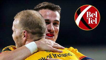 James Hume celebrates with try-scorer Will Addison during the win over Zebre.