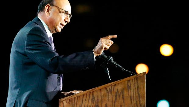 Khizr Khan speaks in support of Democratic presidential nominee Hillary Clinton during election night outside the Jacob K. Javits Convention Center in New York on November 8, 2016.  / AFP PHOTO / Kena BetancurKENA BETANCUR/AFP/Getty Images