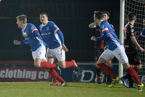 Presseye.com 7th February 2017 Toals County Antrim Shield final between Crusaders and Linfield at the Showgrounds in Ballymena.  Linfields Cameron Stewart celebartes after he  heads the Blues into a 1-0 lead Photograph by Presseye/Stephen Hamilton