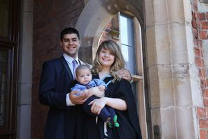 Pictured at today's graduation ceremony at Queen's University Belfast are Amie Graham, from Bangor, who is graduating with a BSc in Biological Sciences, with her proud husband Jordan and her 17-week old son, Lincoln.