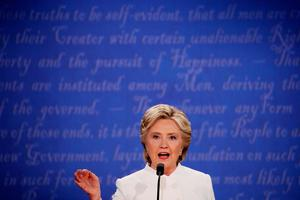 LAS VEGAS, NV - OCTOBER 19:  Democratic presidential nominee former Secretary of State Hillary Clinton speaks during the third U.S. presidential debate at the Thomas & Mack Center on October 19, 2016 in Las Vegas, Nevada. Tonight is the final debate ahead of Election Day on November 8.  (Photo by Drew Angerer/Getty Images)