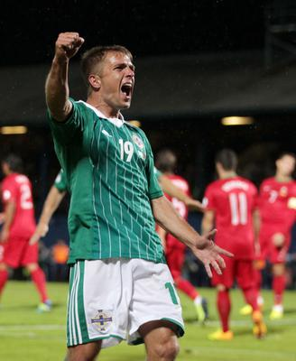 ©Press Eye Ltd Northern Ireland -  6th September 2013 Mandatory Credit - Picture by Darren Kidd /Presseye.com       World Cup Qualifier Northern Ireland v Portugal at Windsor Park.  Northern Ireland's Jamie Ward celebrates
