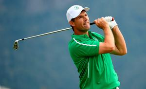RIO DE JANEIRO, BRAZIL - AUGUST 11:  Padraig Harrington of Ireland on the 4th tee during the first round of men's golf on Day 6 of the Rio 2016 Olympics at the Olympic Golf Course on August 12, 2016 in Rio de Janeiro, Brazil.  (Photo by Ross Kinnaird/Getty Images)